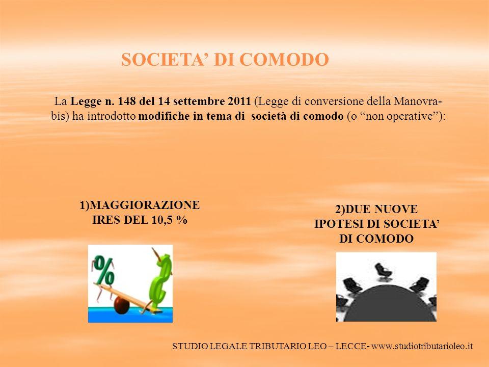 SOCIETA DI COMODO La Legge n. 148 del 14 settembre 2011 (Legge di conversione della Manovra- bis) ha introdotto modifiche in tema di società di comodo