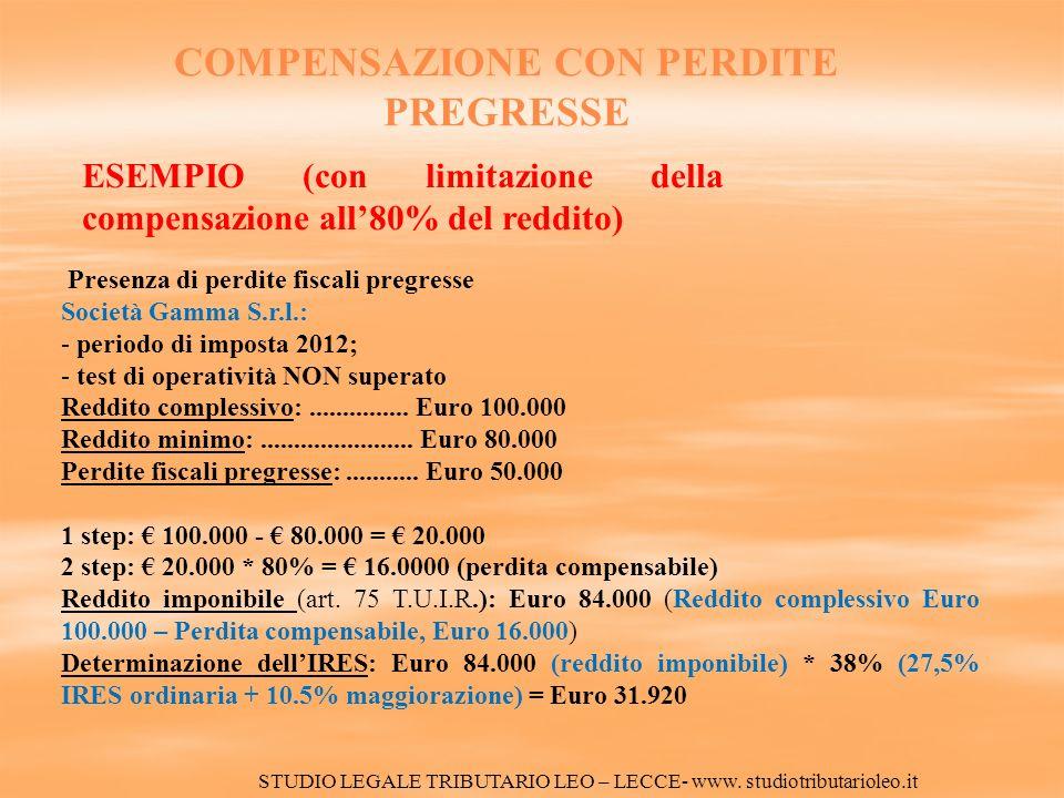 Presenza di perdite fiscali pregresse Società Gamma S.r.l.: - periodo di imposta 2012; - test di operatività NON superato Reddito complessivo:...............