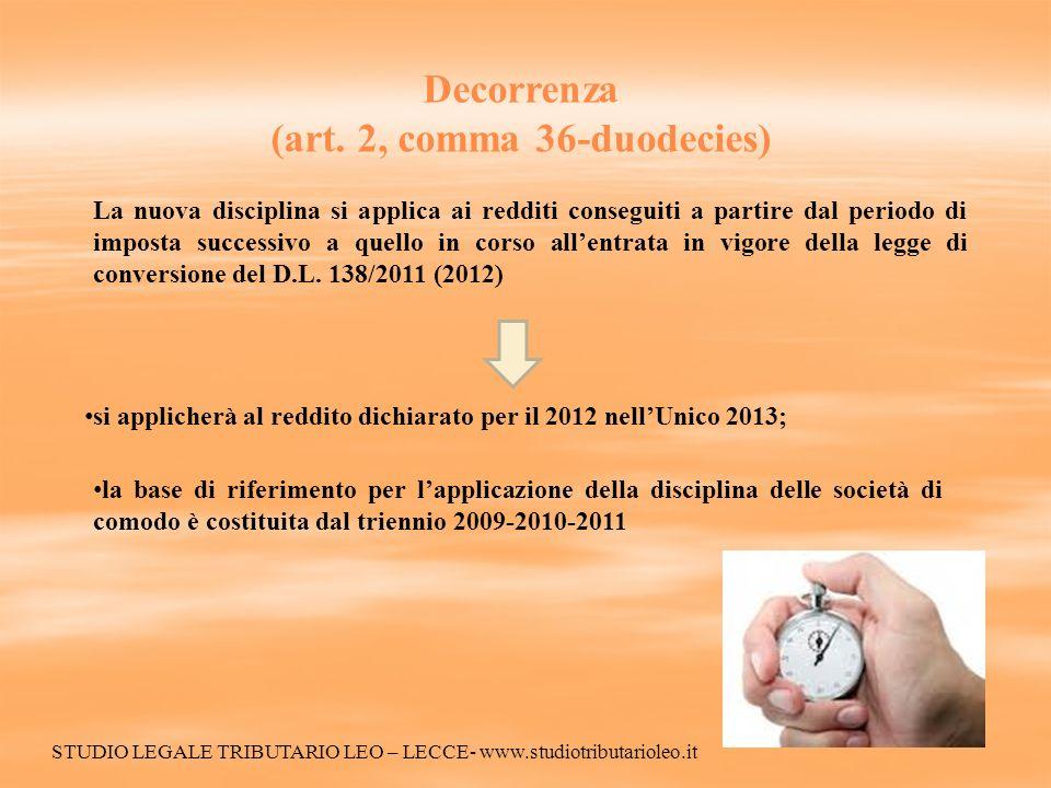 Decorrenza (art. 2, comma 36-duodecies) La nuova disciplina si applica ai redditi conseguiti a partire dal periodo di imposta successivo a quello in c