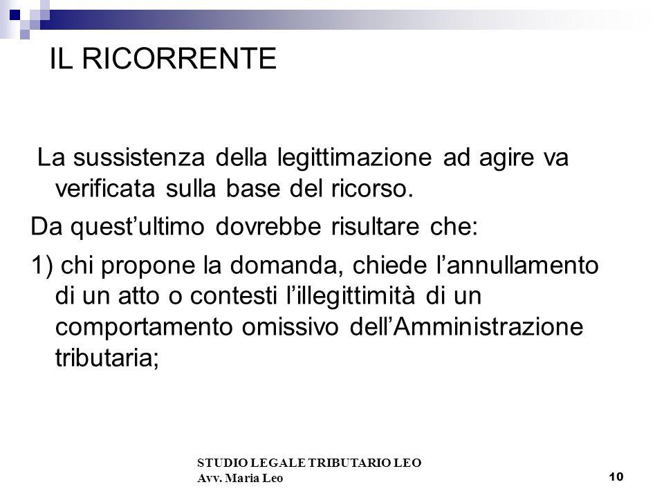 10 IL RICORRENTE La sussistenza della legittimazione ad agire va verificata sulla base del ricorso.