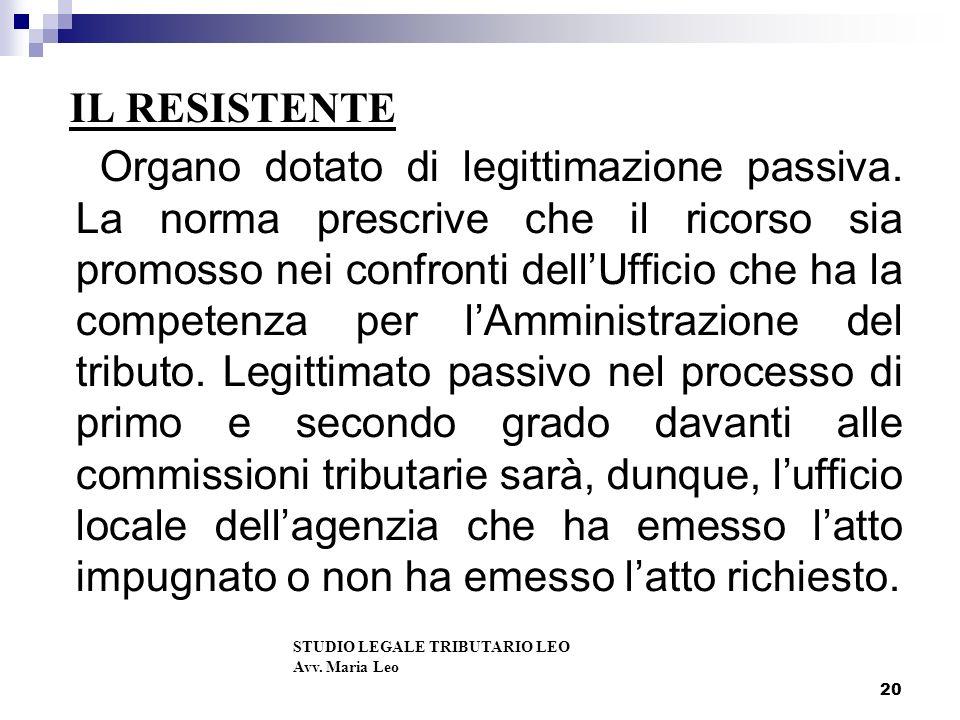 20 IL RESISTENTE Organo dotato di legittimazione passiva.