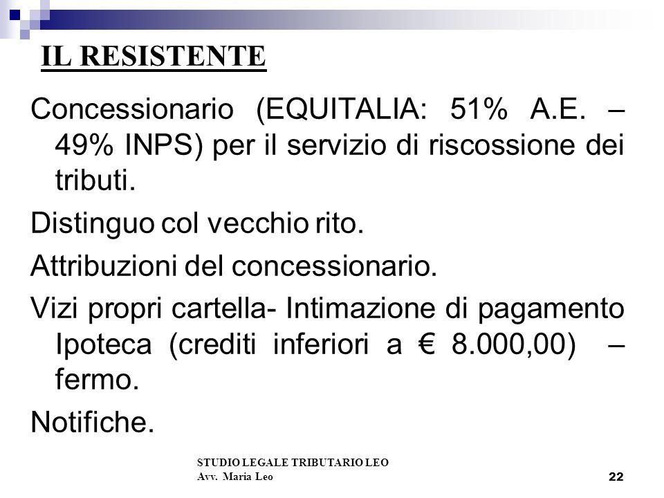 22 IL RESISTENTE Concessionario (EQUITALIA: 51% A.E.