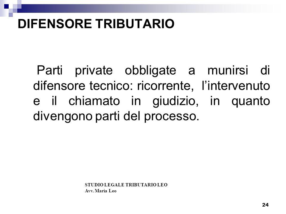 24 DIFENSORE TRIBUTARIO Parti private obbligate a munirsi di difensore tecnico: ricorrente, lintervenuto e il chiamato in giudizio, in quanto divengono parti del processo.