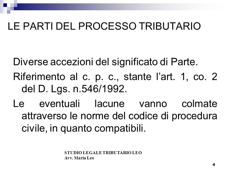 4 LE PARTI DEL PROCESSO TRIBUTARIO Diverse accezioni del significato di Parte.