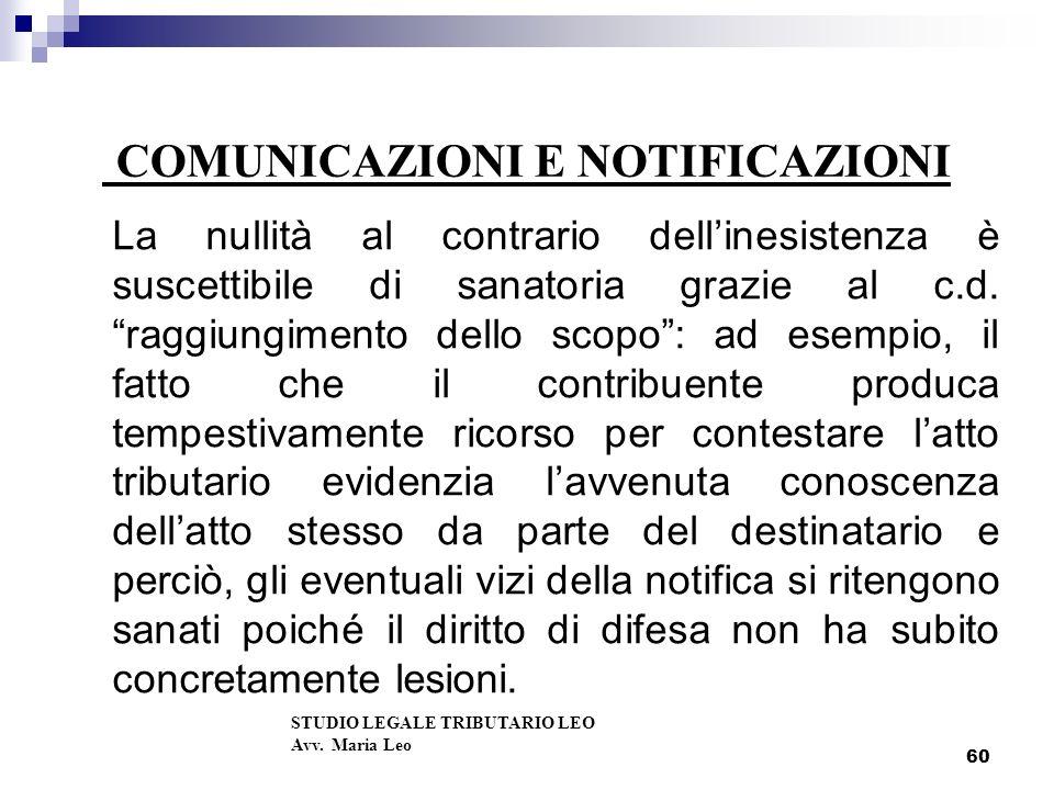 COMUNICAZIONI E NOTIFICAZIONI La nullità al contrario dellinesistenza è suscettibile di sanatoria grazie al c.d.