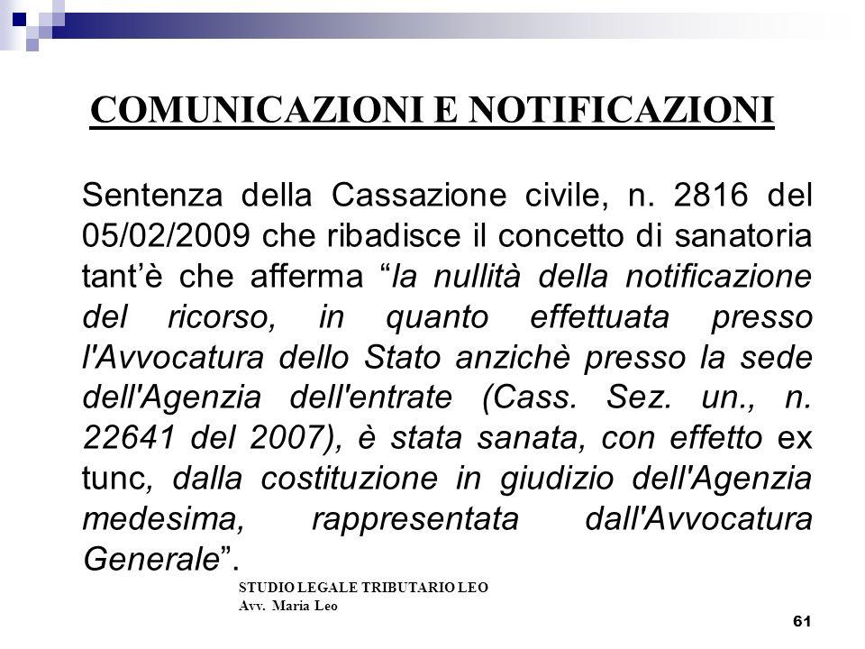 COMUNICAZIONI E NOTIFICAZIONI Sentenza della Cassazione civile, n.