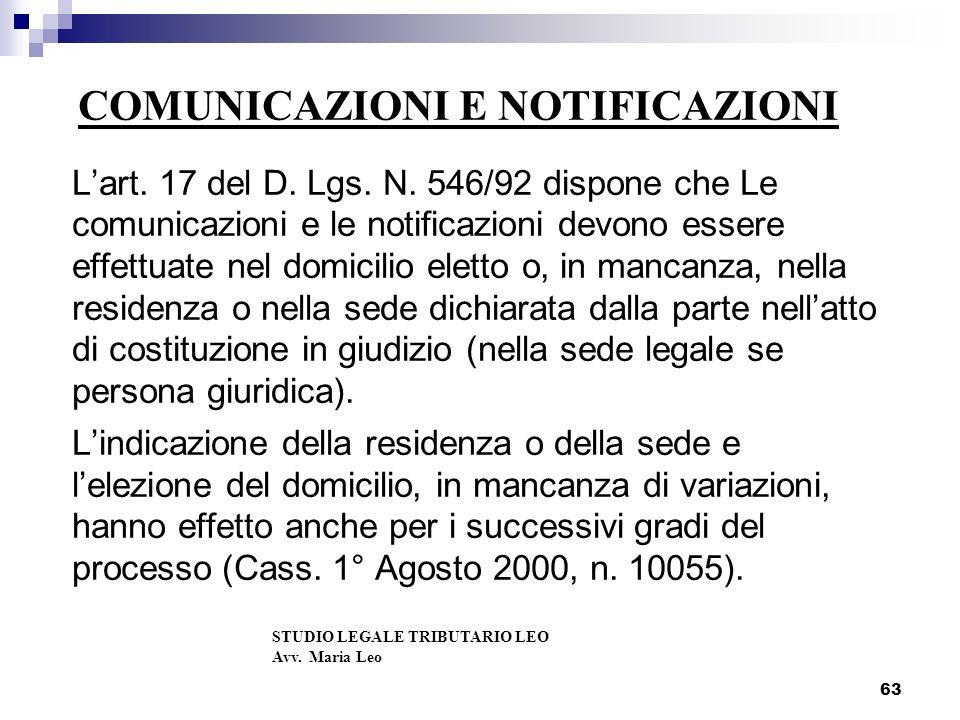 COMUNICAZIONI E NOTIFICAZIONI Lart.17 del D. Lgs.