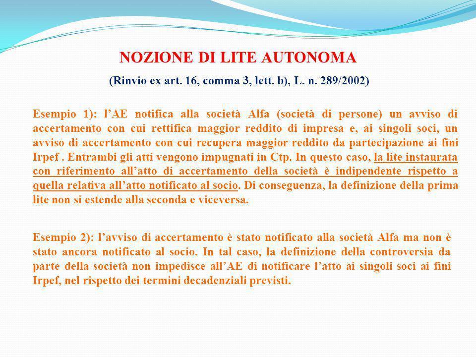 NOZIONE DI LITE AUTONOMA (Rinvio ex art. 16, comma 3, lett. b), L. n. 289/2002) Esempio 1): lAE notifica alla società Alfa (società di persone) un avv