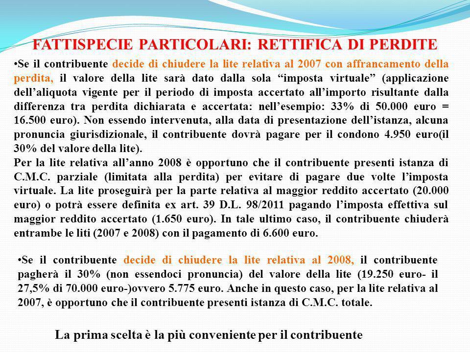 FATTISPECIE PARTICOLARI: RETTIFICA DI PERDITE Se il contribuente decide di chiudere la lite relativa al 2007 con affrancamento della perdita, il valor