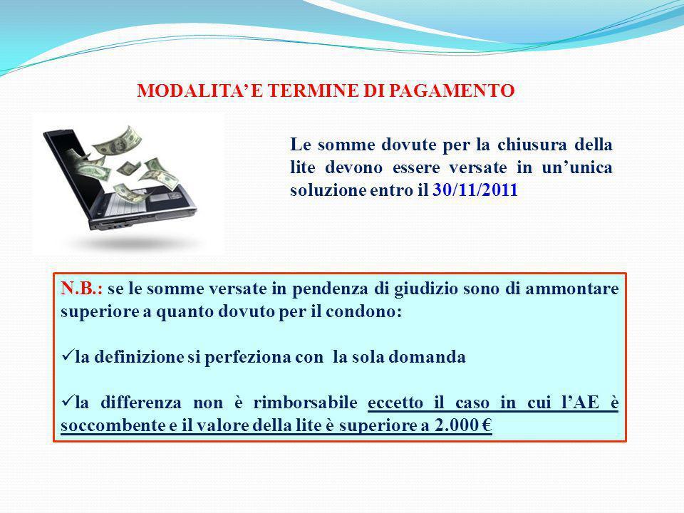 MODALITA E TERMINE DI PAGAMENTO Le somme dovute per la chiusura della lite devono essere versate in ununica soluzione entro il 30/11/2011 N.B.: se le