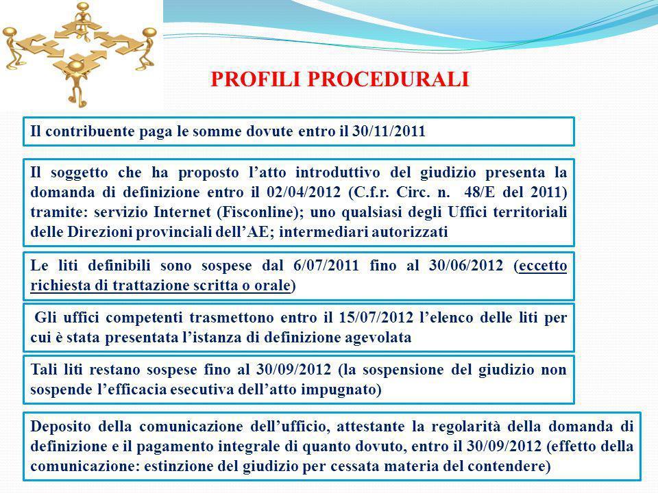 PROFILI PROCEDURALI Il contribuente paga le somme dovute entro il 30/11/2011 Il soggetto che ha proposto latto introduttivo del giudizio presenta la d