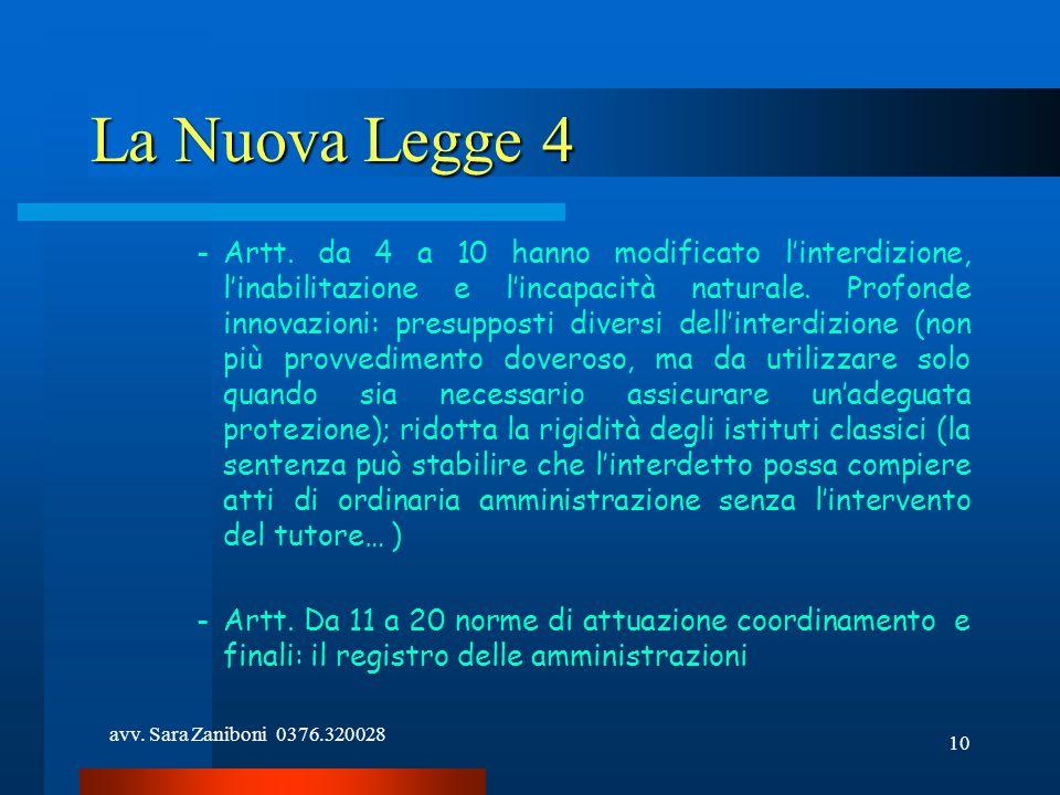 avv. Sara Zaniboni 0376.320028 10 La Nuova Legge 4 -Artt. da 4 a 10 hanno modificato linterdizione, linabilitazione e lincapacità naturale. Profonde i