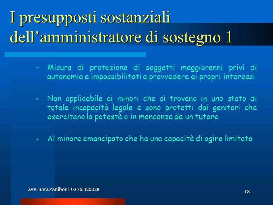 avv. Sara Zaniboni 0376.320028 18 I presupposti sostanziali dellamministratore di sostegno 1 -Misura di protezione di soggetti maggiorenni privi di au