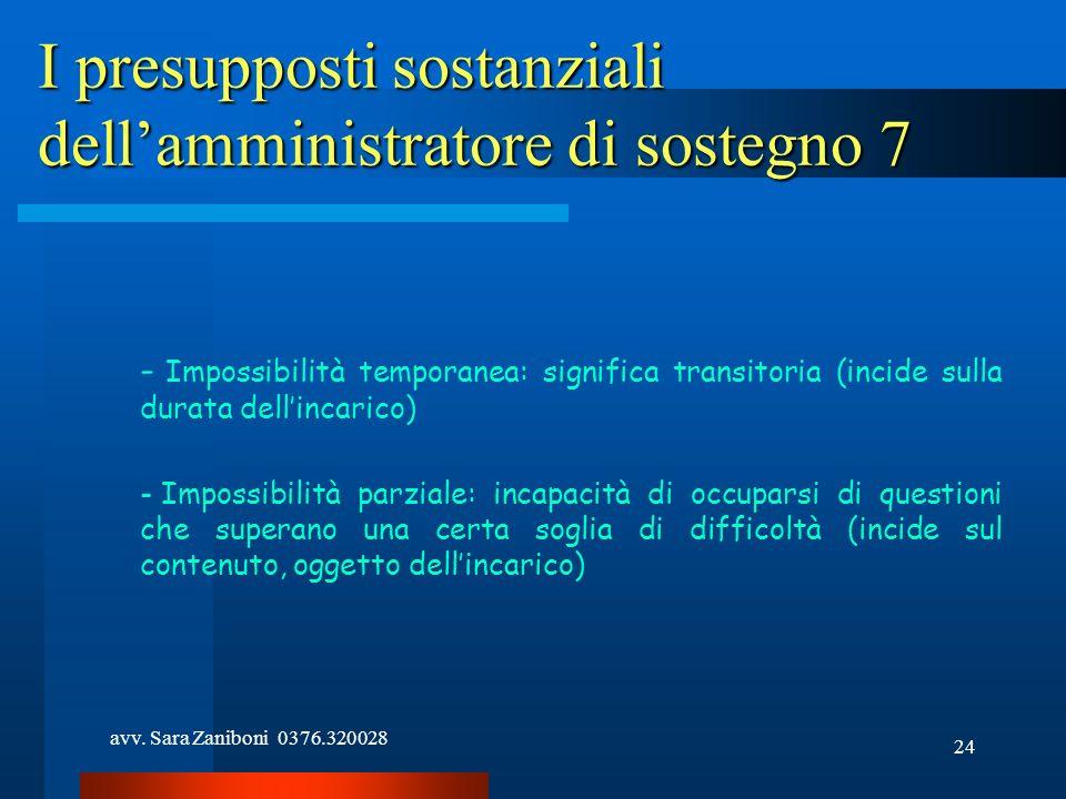 avv. Sara Zaniboni 0376.320028 24 I presupposti sostanziali dellamministratore di sostegno 7 - Impossibilità temporanea: significa transitoria (incide