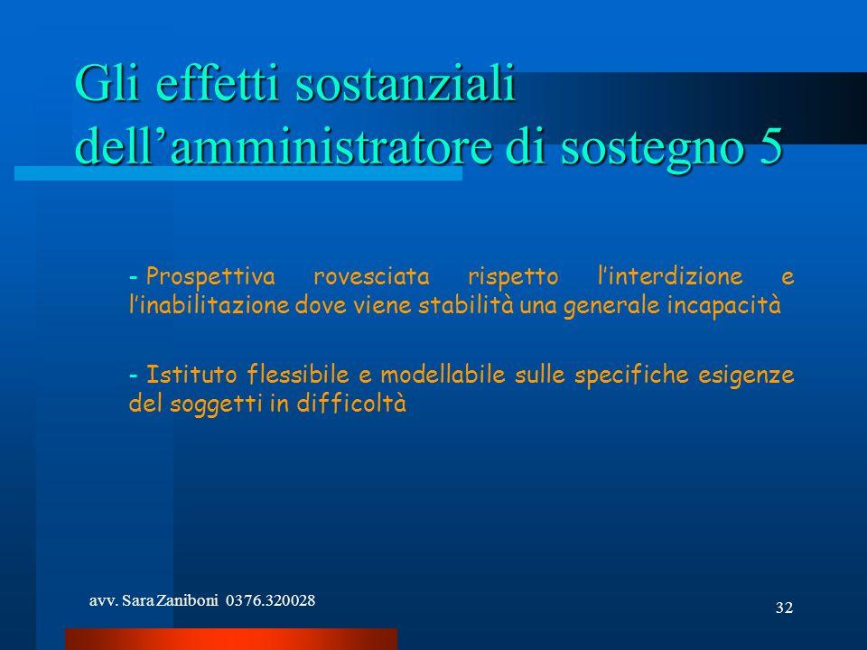 avv. Sara Zaniboni 0376.320028 32 Gli effetti sostanziali dellamministratore di sostegno 5 - Prospettiva rovesciata rispetto linterdizione e linabilit