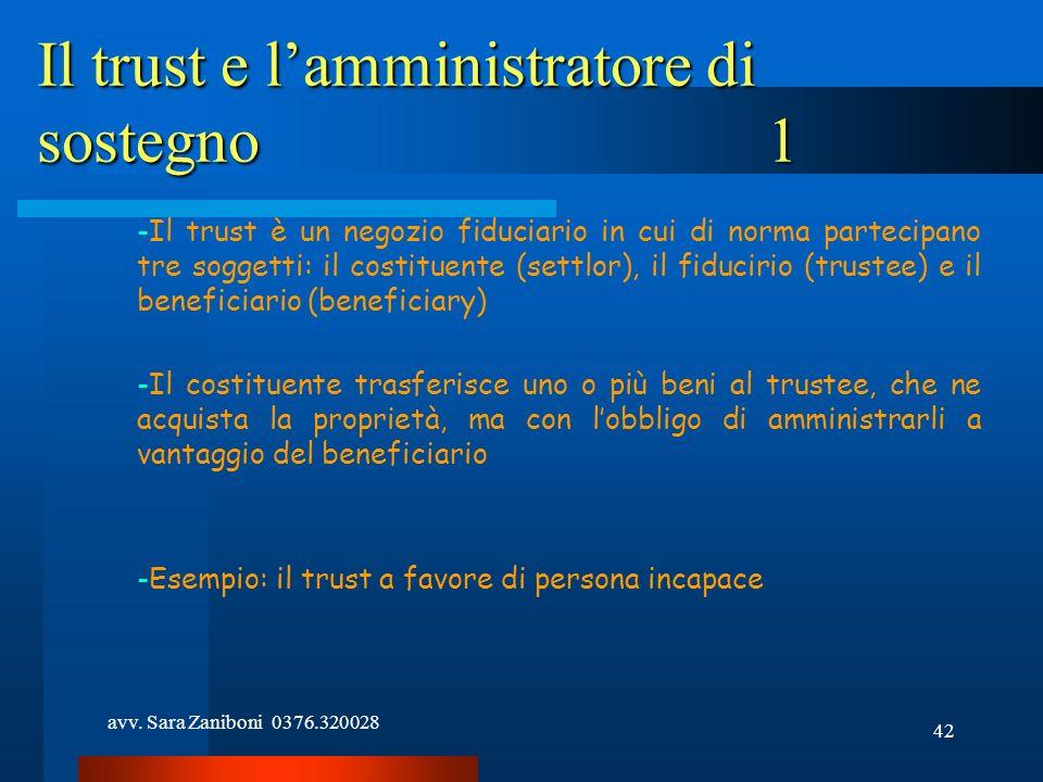 avv. Sara Zaniboni 0376.320028 42 Il trust e lamministratore di sostegno1 -Il trust è un negozio fiduciario in cui di norma partecipano tre soggetti: