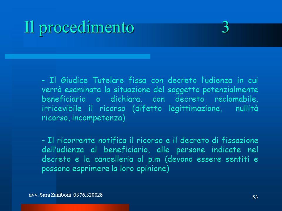 avv. Sara Zaniboni 0376.320028 53 Il procedimento3 - Il Giudice Tutelare fissa con decreto ludienza in cui verrà esaminata la situazione del soggetto