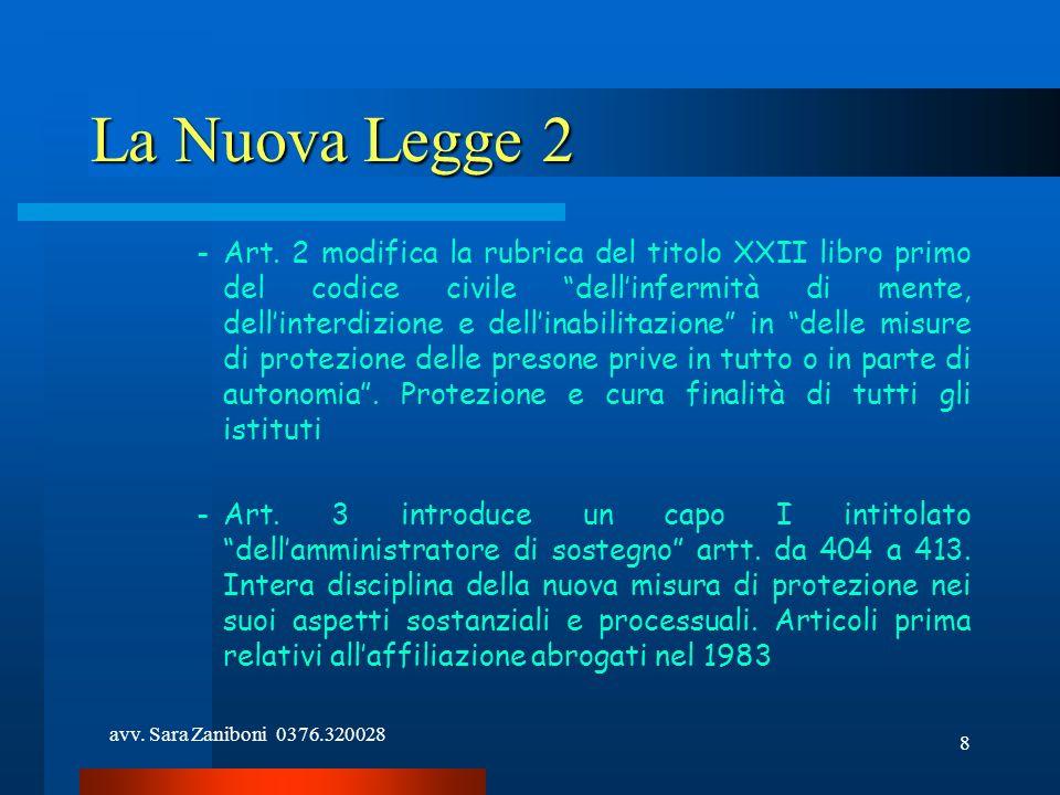 avv. Sara Zaniboni 0376.320028 8 La Nuova Legge 2 -Art. 2 modifica la rubrica del titolo XXII libro primo del codice civile dellinfermità di mente, de