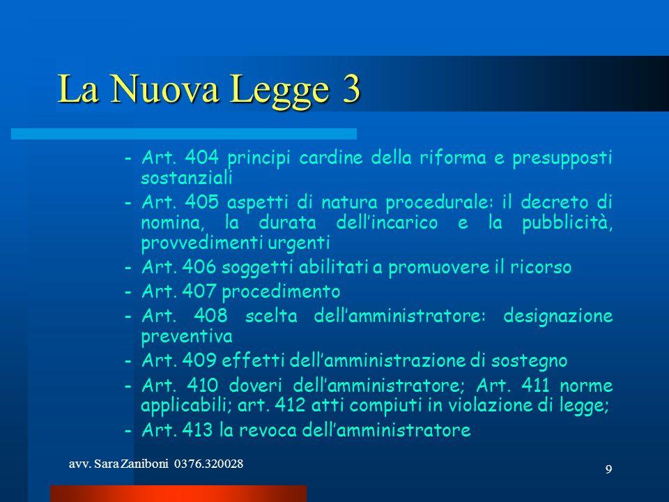 avv. Sara Zaniboni 0376.320028 9 La Nuova Legge 3 -Art. 404 principi cardine della riforma e presupposti sostanziali -Art. 405 aspetti di natura proce
