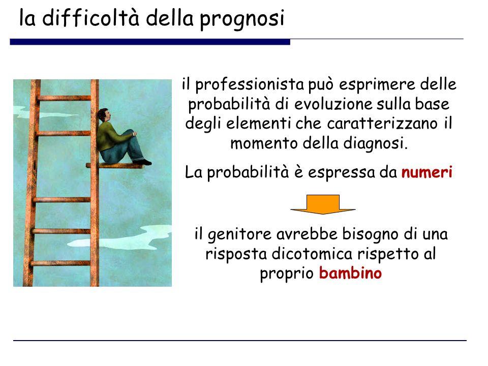 la difficoltà della prognosi il professionista può esprimere delle probabilità di evoluzione sulla base degli elementi che caratterizzano il momento d