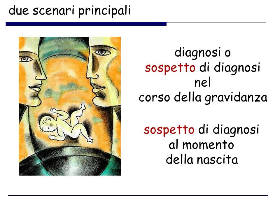 due scenari principali diagnosi o sospetto di diagnosi nel corso della gravidanza sospetto di diagnosi al momento della nascita