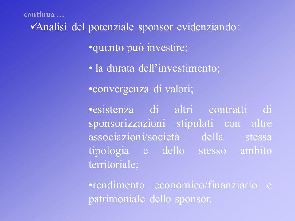 Analisi del potenziale sponsor evidenziando: quanto può investire; la durata dellinvestimento; convergenza di valori; esistenza di altri contratti di