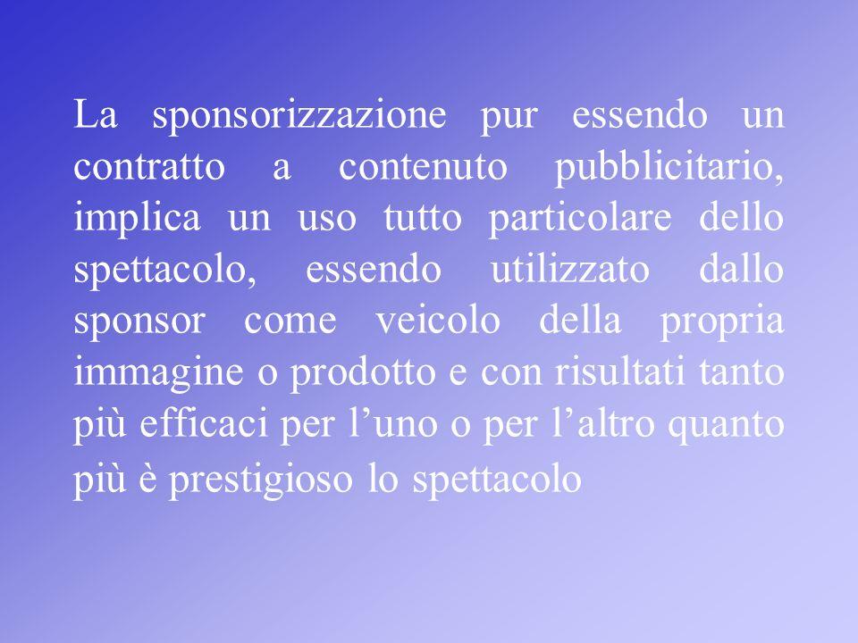 La sponsorizzazione pur essendo un contratto a contenuto pubblicitario, implica un uso tutto particolare dello spettacolo, essendo utilizzato dallo sp