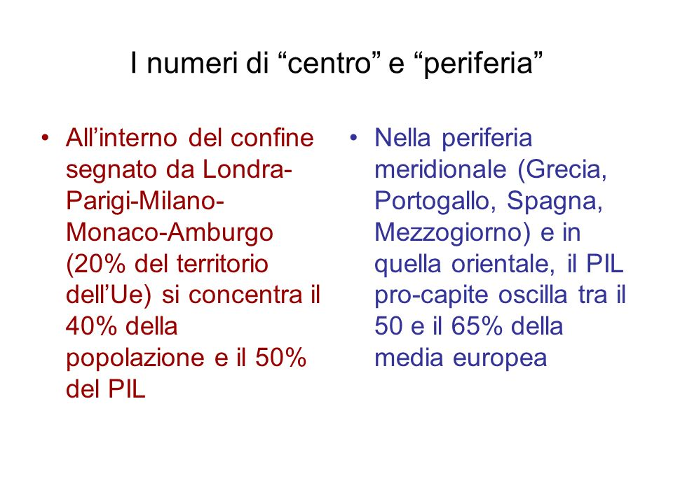 I numeri di centro e periferia Allinterno del confine segnato da Londra- Parigi-Milano- Monaco-Amburgo (20% del territorio dellUe) si concentra il 40%