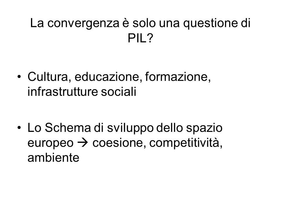 La convergenza è solo una questione di PIL? Cultura, educazione, formazione, infrastrutture sociali Lo Schema di sviluppo dello spazio europeo coesion