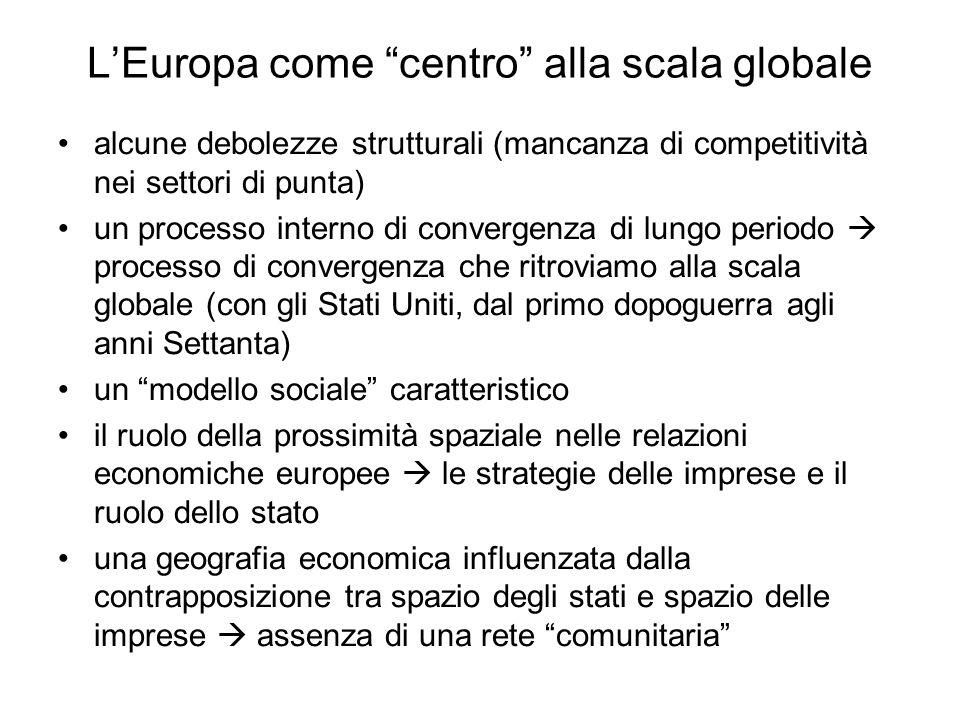 LEuropa come centro alla scala globale alcune debolezze strutturali (mancanza di competitività nei settori di punta) un processo interno di convergenz