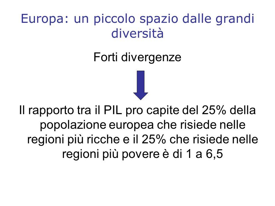Europa: un piccolo spazio dalle grandi diversità Forti divergenze Il rapporto tra il PIL pro capite del 25% della popolazione europea che risiede nell