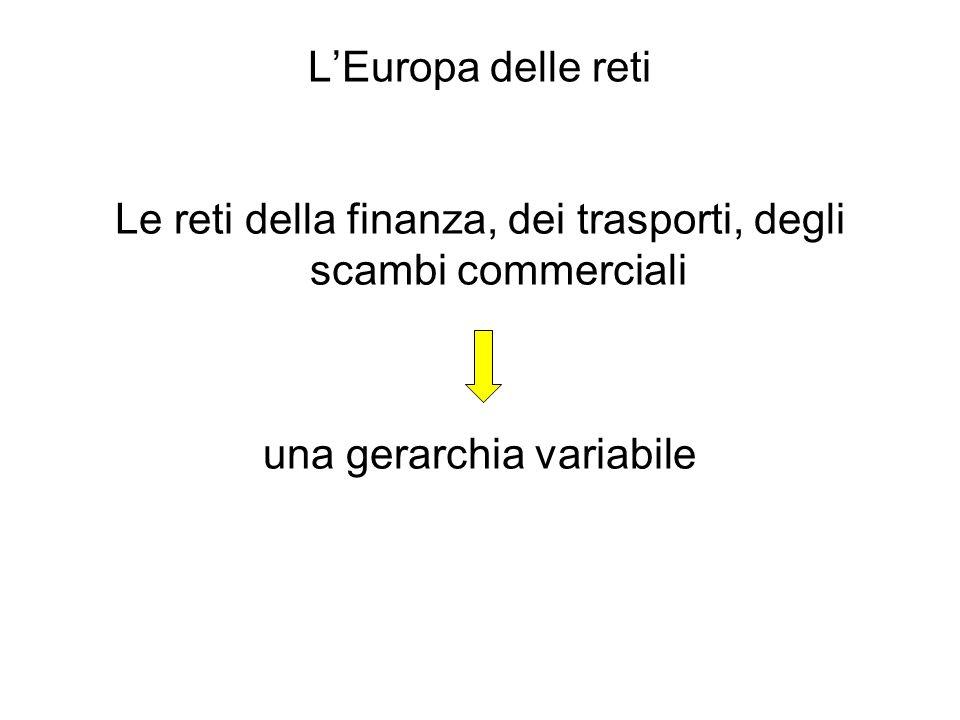 LEuropa delle reti Le reti della finanza, dei trasporti, degli scambi commerciali una gerarchia variabile