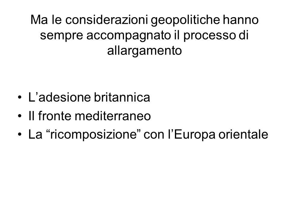 Ma le considerazioni geopolitiche hanno sempre accompagnato il processo di allargamento Ladesione britannica Il fronte mediterraneo La ricomposizione