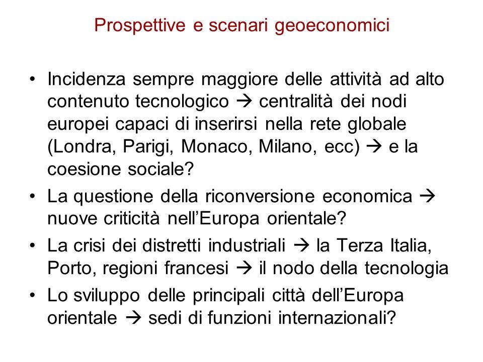 Prospettive e scenari geoeconomici Incidenza sempre maggiore delle attività ad alto contenuto tecnologico centralità dei nodi europei capaci di inseri
