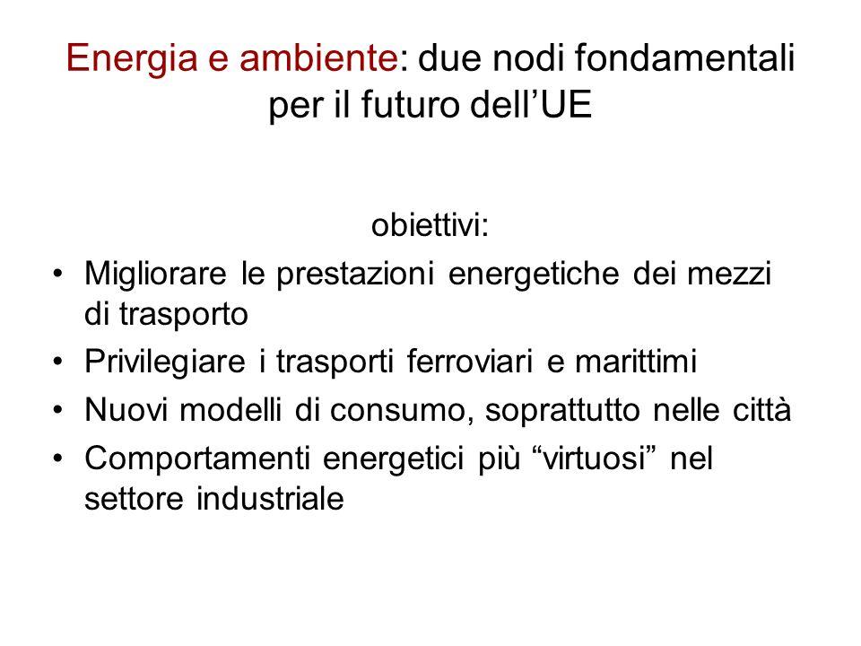 Energia e ambiente: due nodi fondamentali per il futuro dellUE obiettivi: Migliorare le prestazioni energetiche dei mezzi di trasporto Privilegiare i