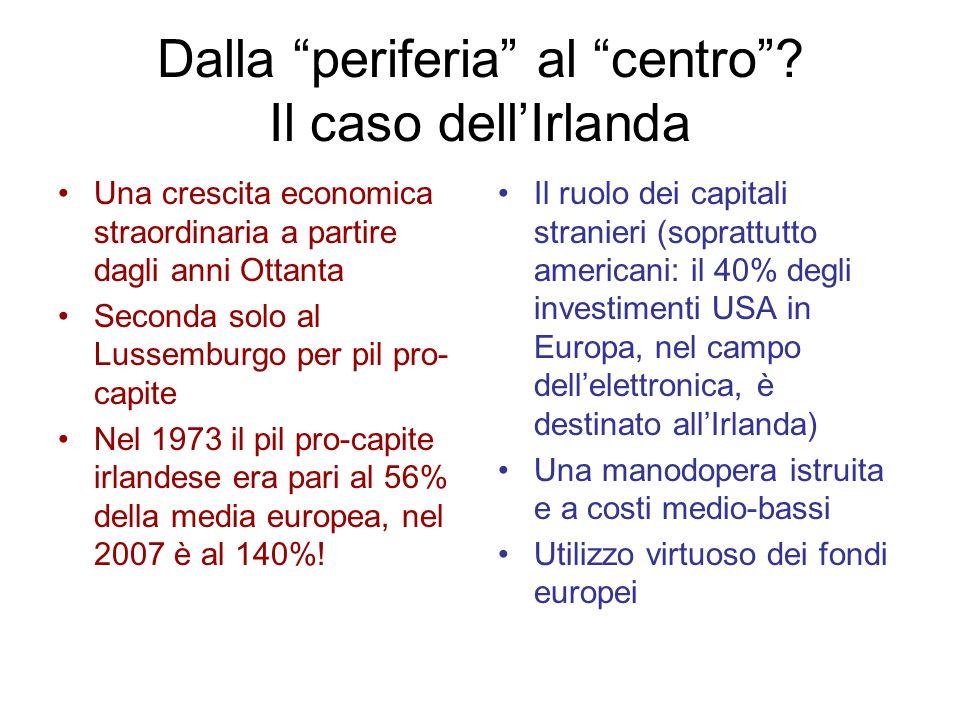 Dalla periferia al centro? Il caso dellIrlanda Una crescita economica straordinaria a partire dagli anni Ottanta Seconda solo al Lussemburgo per pil p