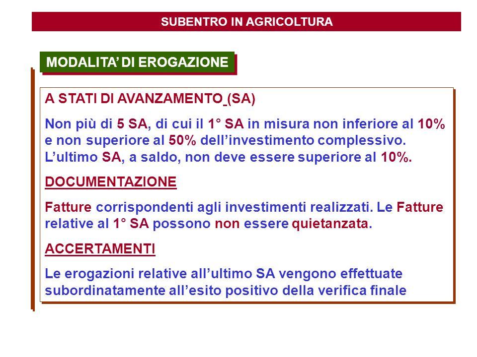 MODALITA DI EROGAZIONE SUBENTRO IN AGRICOLTURA A STATI DI AVANZAMENTO (SA) Non più di 5 SA, di cui il 1° SA in misura non inferiore al 10% e non super