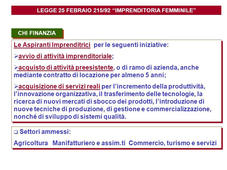 CHI FINANZIA Le Aspiranti Imprenditrici per le seguenti iniziative: avvio di attività imprenditoriale; acquisto di attività preesistente, o di ramo di