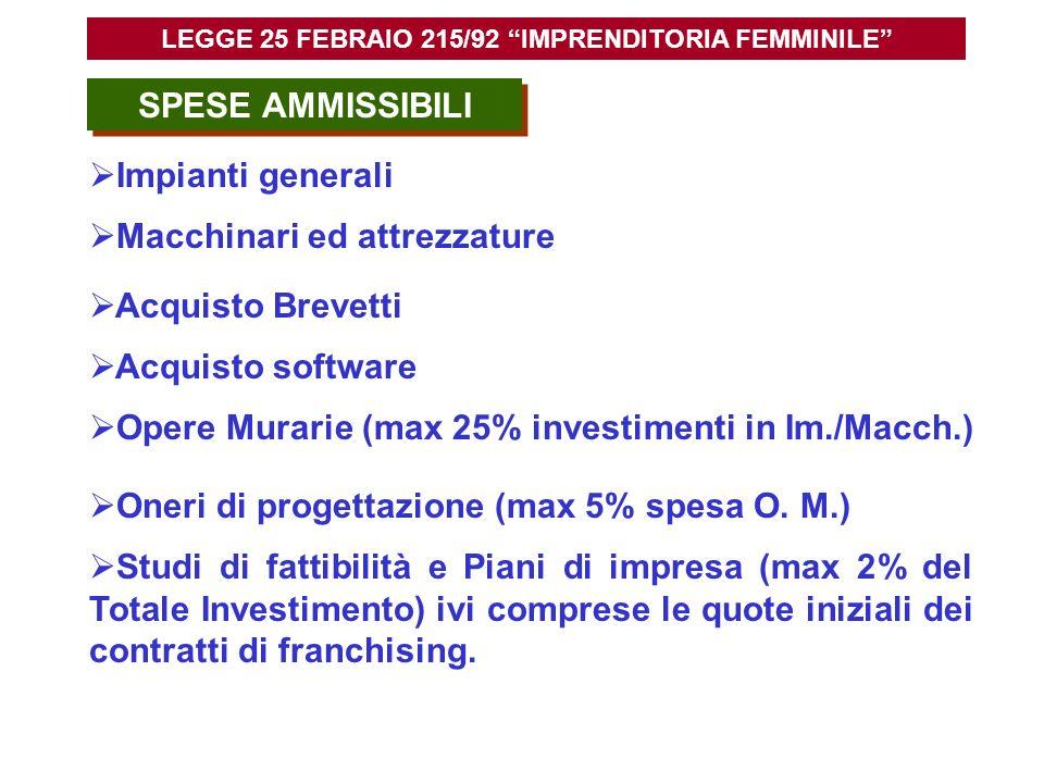 SPESE AMMISSIBILI Opere Murarie (max 25% investimenti in Im./Macch.) Impianti generali Macchinari ed attrezzature Acquisto Brevetti Acquisto software