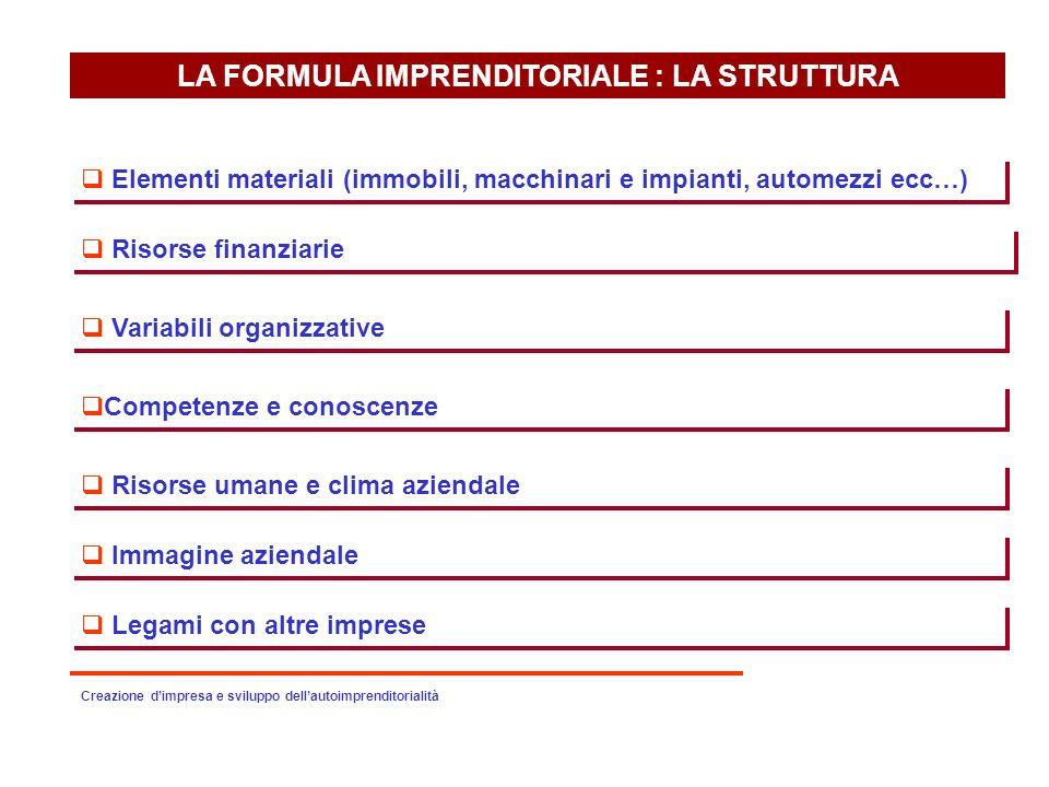 LA FORMULA IMPRENDITORIALE : LA STRUTTURA Elementi materiali (immobili, macchinari e impianti, automezzi ecc…) Risorse finanziarie Variabili organizza