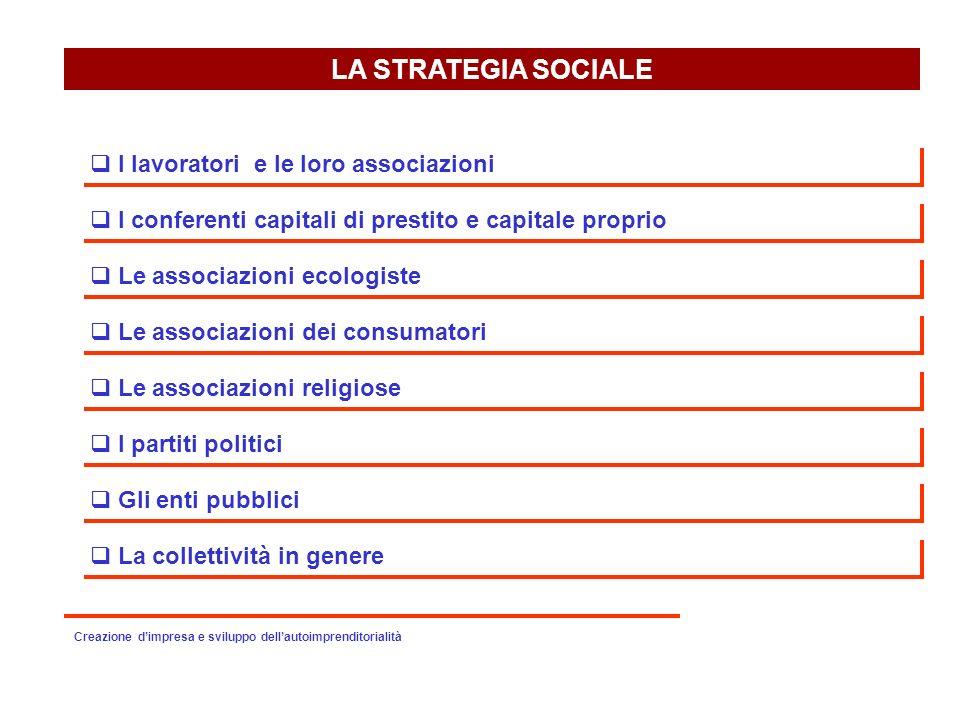 LA STRATEGIA SOCIALE I lavoratori e le loro associazioni I conferenti capitali di prestito e capitale proprio Le associazioni ecologiste Le associazio
