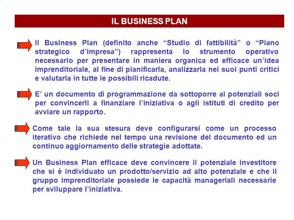 IL BUSINESS PLAN Il Business Plan (definito anche Studio di fattibilità o Piano strategico dimpresa) rappresenta lo strumento operativo necessario per