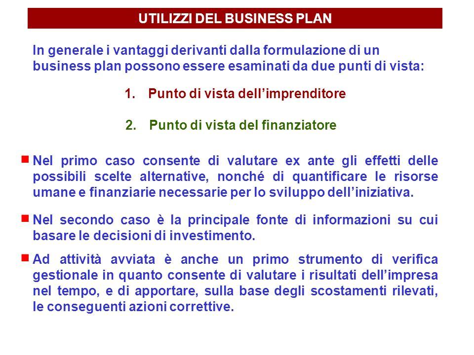 UTILIZZI DEL BUSINESS PLAN In generale i vantaggi derivanti dalla formulazione di un business plan possono essere esaminati da due punti di vista: 1.P