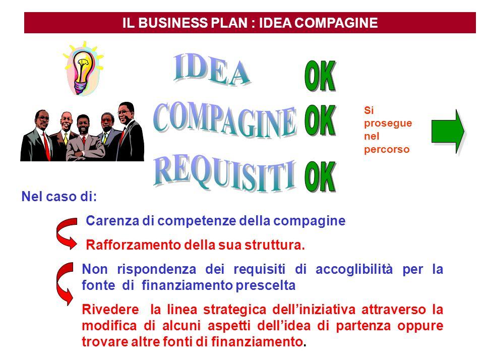 IL BUSINESS PLAN : IDEA COMPAGINE Si prosegue nel percorso Carenza di competenze della compagine Rafforzamento della sua struttura. Nel caso di: Non r