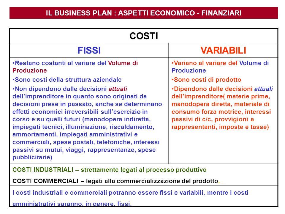 IL BUSINESS PLAN : ASPETTI ECONOMICO - FINANZIARI COSTI INDUSTRIALI – strettamente legati al processo produttivo COSTI COMMERCIALI – legati alla comme