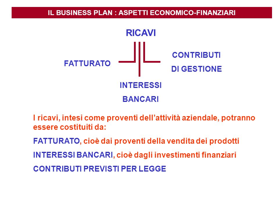 IL BUSINESS PLAN : ASPETTI ECONOMICO-FINANZIARI FATTURATO INTERESSI BANCARI CONTRIBUTI DI GESTIONE I ricavi, intesi come proventi dellattività azienda
