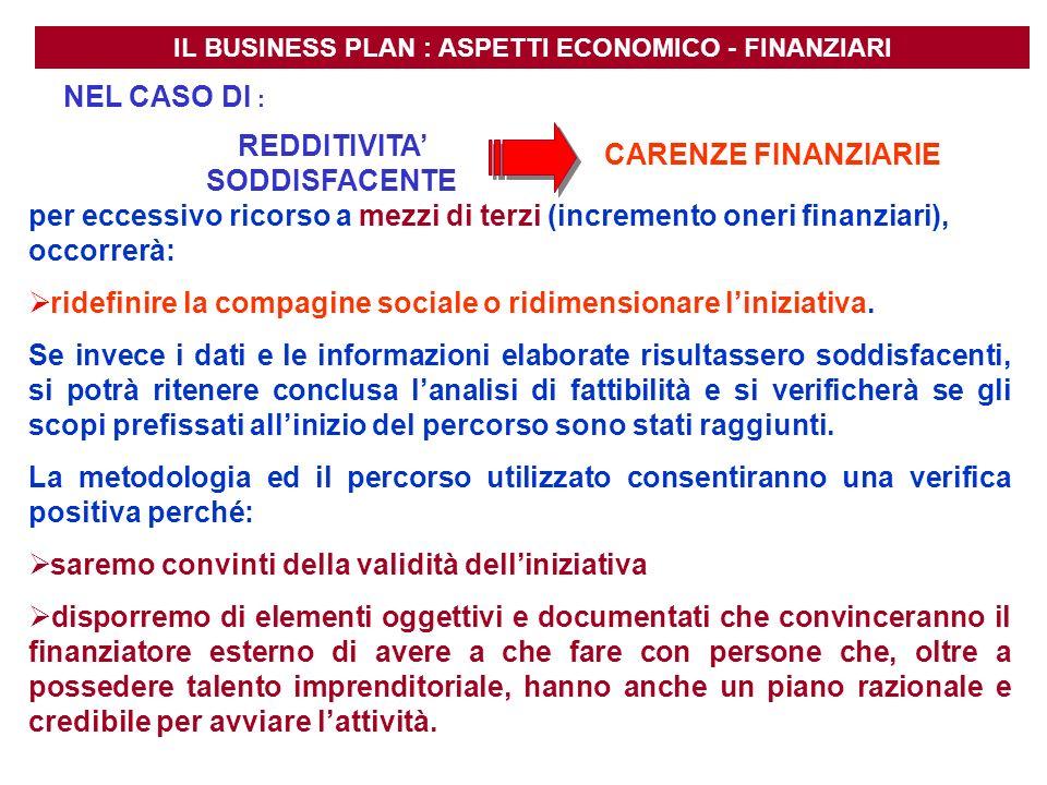 IL BUSINESS PLAN : ASPETTI ECONOMICO - FINANZIARI REDDITIVITA SODDISFACENTE CARENZE FINANZIARIE per eccessivo ricorso a mezzi di terzi (incremento one