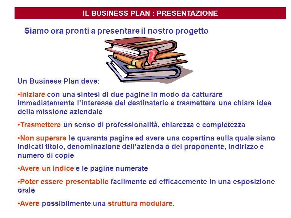 IL BUSINESS PLAN : PRESENTAZIONE Siamo ora pronti a presentare il nostro progetto Un Business Plan deve: Iniziare con una sintesi di due pagine in mod