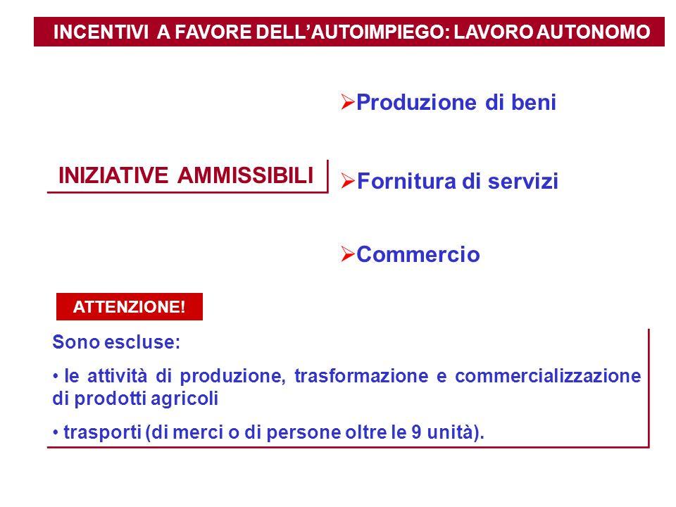 INCENTIVI A FAVORE DELLAUTOIMPIEGO: LAVORO AUTONOMO INIZIATIVE AMMISSIBILI Produzione di beni Fornitura di servizi Commercio Sono escluse: le attività