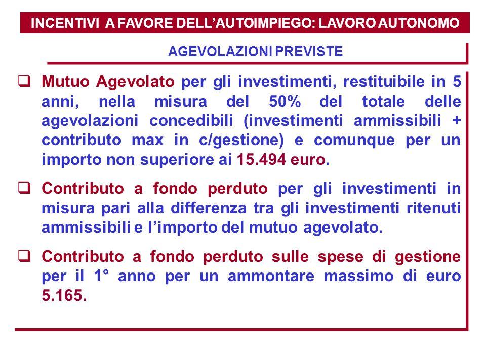 INCENTIVI A FAVORE DELLAUTOIMPIEGO: LAVORO AUTONOMO AGEVOLAZIONI PREVISTE Mutuo Agevolato per gli investimenti, restituibile in 5 anni, nella misura d